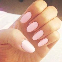 Light pink almond shaped nails