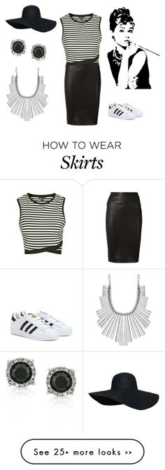 """Pencil skirt and sneakers #2"" by the-lost-kids14 on Polyvore featuring Narciso Rodriguez, Topshop, Lucky Brand, Mark Broumand and adidas"