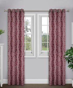 Burgundy Sare Jacquard Curtain Panel - Set of Two #zulily #zulilyfinds
