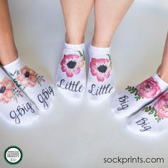 Our beautiful watercolor floral socks are a nice gift for your Big, Little and G-Big family! Sold by the pair, our cushion no-show socks are comfy and pretty! Each pair sold individually. Big Little Basket, Big Little Gifts, Little Sis, Big Sis, Floral Socks, Sorority Big Little, Sigma Kappa, Delta Gamma, Alpha Chi