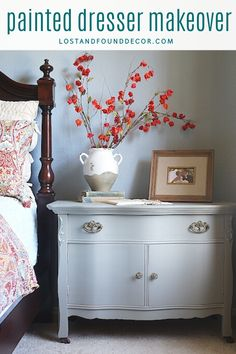 Simple and elegant painted dresser makeover using Fusion Mineral Paint. #fusionmineralpaint #paintedfurniture #painteddresser Diy Furniture Projects, Paint Furniture, Furniture Makeover, Furniture Painting Techniques, Mineral Paint, Learn To Paint, Dresser As Nightstand, Beautiful Bedrooms, Vintage Decor
