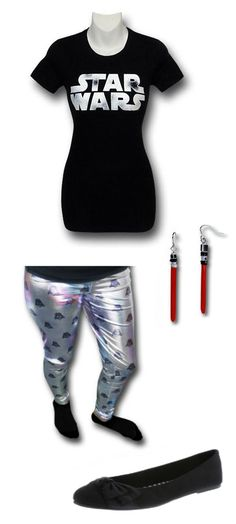 Star Wars Outfit by Mary. Leggings: https://www.superherostuff.com/star-wars/pants-and-shorts/star-wars-vader-iridescent-womens-leggings.html?itemcd=strwrsvadersublegg&utm_source=pinterest&utm_medium=social&utm_campaign=featuredoutfit Earrings: https://www.superherostuff.com/star-wars/earrings/star-wars-red-lightsaber-earrings.html?itemcd=earrringstrwrslsr&utm_source=pinterest&utm_medium=social&utm_campaign=featuredoutfit Shoes: http://www.payless.com/womens-side-half-bow-flat/75633.html