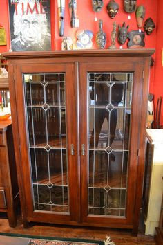 Mahogany 2 Door Bookcase/china Cabinet With Leaded Glass