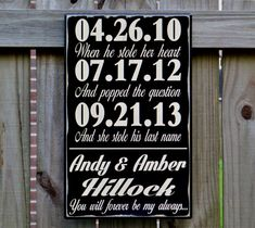 Wedding Sign, Personalized Wedding Gift, Engagement Gift, Anniversary Gift, Important Date Custom Wood Sign - Hillock Important Dates Sign, Engagement Signs, Wood Wedding Signs, Custom Wood Signs, Wedding In The Woods, Personalized Wedding Gifts, How To Make Notes, Just Married, Colorful Backgrounds