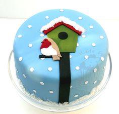 Little robin in winter — Other Cakes Fondant Christmas Cake, Christmas Themed Cake, Christmas Cake Designs, Christmas Cake Decorations, Christmas Cakes, Xmas Cakes, Fondant Cakes, Cupcake Cakes, Cupcake Ideas
