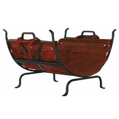 Olde World Iron Log Holder With Suede Leather Carrier. Olde World Iron Log Holder With Suede Leather Carrier Indoor Firewood Rack, Firewood Logs, Firewood Storage, Firewood Holder, Stove Accessories, Fireplace Accessories, Home Depot, Brown Suede, Suede Leather