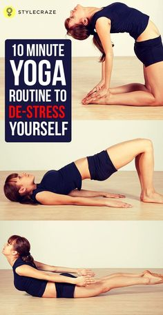 Yoga helps to release all the trapped stress in your muscles. Check out these effective poses in yoga for stress relief, that hardly takes 10 minutes of your time #yoga #poses