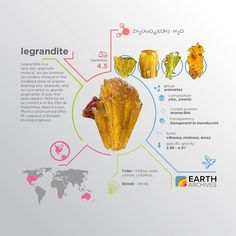 Legrandite was first discovered in 1934 in the Flor de Peña Mine, Nuevo Leon, Mexico and named after M. Legrand, a Belgian mining engineer. #science #nature #geology #minerals #rocks #infographic #earth #legrandite