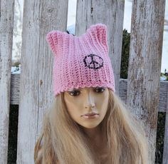 Pussyhats Beanie Hat PINK crochet Beanie Cat hat Women's Knitted pink cat hat Outer wear Cute Outside Warm Adult Teen Comfortable