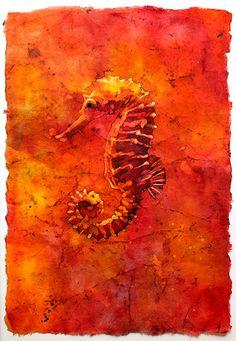 Watercolor batik painting on rice paper of red seahorse swimming in ocean