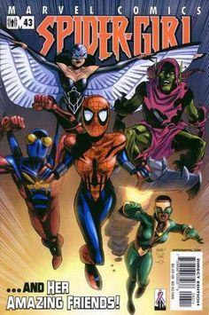 """Spider-Girlfriends, go for it! Team Mayday: Raptor (the daughter of the second Vulture), Green Goblin (""""Bugle"""" reporter Urich, who has taken the name for good), Buzz (J. Jonah's grandson), Ladyhawk (twins impersonating a single hero (The Falcon's first costume) using karate skills and avian weaponry). These new warriors declared war on Loki, who used Ladyhawk's sister act against them (bad 80s movie trifecta in play, DeFalco?)."""