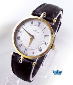 GUCCI Stack Classic Leather Watch with Decorative Case & Roman Numeral Hours