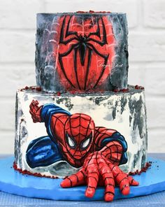 Spiderman Decorations For Cakes. Cake decorating is a great way to get in touch with your creative side and you. Spiderman Torte, Spiderman Birthday Cake, Superhero Cake, Birthday Cupcakes, Spiderman Cookies, Spiderman Spiderman, Just Cakes, Cakes For Boys, Cake Kids