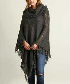 Another great find on #zulily! Charcoal Fringe Cowl-Neck Poncho #zulilyfinds