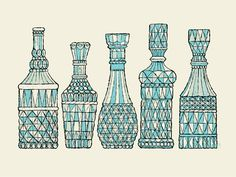 5 Decanters print by Methane Studios