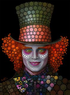 """Ben Heine is one of the most amazing artists; this is one style of work that he does using the computer.  He calls this style, """"digital pointilism.""""  Here he does a portrait of Johnny Depp as the Mad Hatter by using different sizes and shades of dots...."""