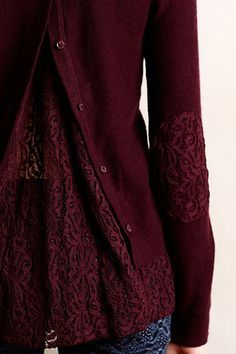 Button-Down-the-Back-Cardigan to pullover conversion with Lace insert - DIY Inspiratiion from an anthropologie piece