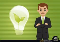 Young and energetic businessman standing and having fresh idea with a green plant inside a light bulb aside. Under Creative Commons 3.0 Attribution License.
