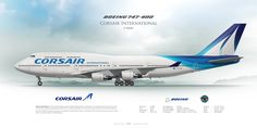 Boeing 747-400 Corsair F-HSUN | Airliner Profile Art Prints www.aviaposter.com | Airliners profile print | #airliners #aviation #jetliner #airplane #pilot #avia #airline