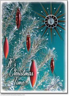 Silver Tree Christmas Cards, Package of 8 - 8 cards & color envelopes $12.00 Retro Christmas Cards | Vintage Christmas Cards