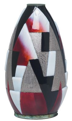 """Art Deco Limoges vase, designed by Camille Faure, tapered form with an enameled geometric design in red, white, black and silver, signed in gold, 11""""h"""