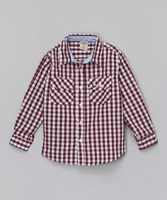 Love this Burgundy Gingham Plaid Button-Up - Toddler & Boys on #zulily! #zulilyfinds
