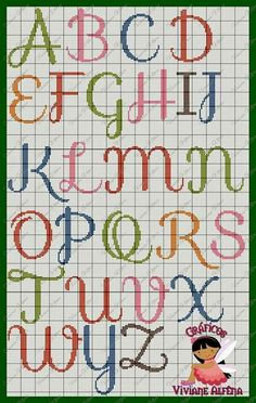 Pretty X-stitch alphabet, upper case Cross Stitch Alphabet Patterns, Cross Stitch Letters, Letter Patterns, Bead Loom Patterns, Cross Stitch Charts, Cross Stitch Designs, Beading Patterns, Stitch Patterns, Cross Stitching