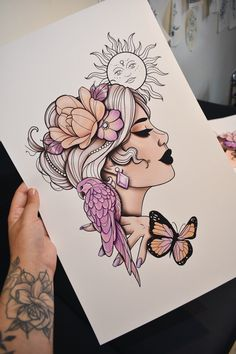 """I am pleased to present this article from my shop : """"Sun Lady, Flowers, Butterfly and Bird"""" pr Cool Art Drawings, Pencil Art Drawings, Art Drawings Sketches, Tattoo Drawings, Bleistift Tattoo, Simbolos Tattoo, Tattoo Arrow, Dibujos Zentangle Art, Geometric Tatto"""