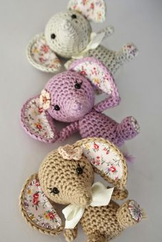Searching for an amigurumi elephant pattern? This tiny luck elephant is holding it`s trunk upwards, his ears and feet are covered with fabric. Amigurumi Doll, Crochet Patterns Amigurumi, Crochet Dolls, Crochet Crafts, Crochet Projects, Sewing Projects, Fabric Crafts, Crochet Elephant, Elephant Pattern