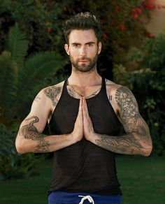 Adam Levine: Yoga with Details Magazine! Adam Levine performs a yoga pose for a feature in Details magazine. Here's what the rocker and The Voice coach had to share: On why he turned… Sup Yoga, Yoga Moves, Yoga Man, Namaste Yoga, Adam Levine Tattoos, Maroon 5, Stevie Ray Vaughan, Lenny Kravitz, Orange