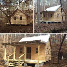 16x18 Custom Cabin, 8x18 Front Porch, & Log siding on exterior. $10,911.00 #backyardcustomconstruction