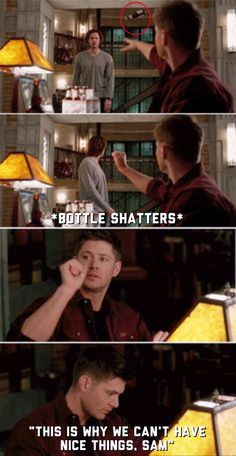 """[SET OF GIFS] """"This is why we don't have nice things, Sam."""" Pac-Man Fever - great scene from last night Supernatural Memes, Supernatural Seasons, Supernatural Fanfiction, Supernatural Wallpaper, Winchester Boys, Winchester Brothers, Cw Series, Two Brothers, Angels And Demons"""