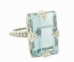 aquamarine platinum simple elegant setting