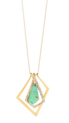 Alexis Bittar New Wave Long Pendant Necklace An Alexis Bittar pendant necklace glitters with an angular Swarovski-covered stone. Lobster-claw clasp.    Made in the USA.