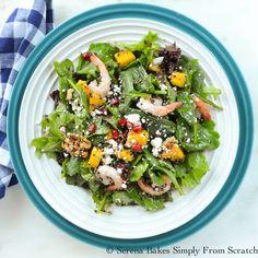 Quinoa Shrimp Mango Pomegranate Spinach Salad with White Balsamic Vinaigrette