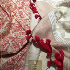 #HandloomEdition: Classic and Timeless. This Pure #SilkTussar accentuated with #Kantha #handembroidery from #WestBengal is a #handwoven masterpiece. The bright red tassels on the pallu, makes it an elegant choice for office / cocktail wear. #Kantha is a laborious process involving simple embroidery which first started as a #quilting technique and later evolved into an #ornamentation technique on plain fabrics.