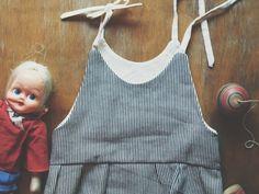 Striped denim baby romper