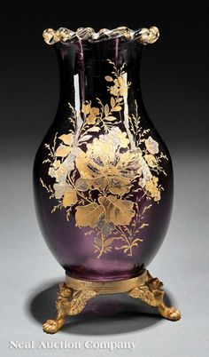 Continental Enameled Amethyst Glass Vase, late 19th/early 20th c.