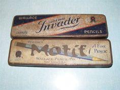 VINTAGE PENCIL TINS BOXES WALLACE SILVER BAND INVADER MOTIF ST LOUIS MISSOURI   eBay