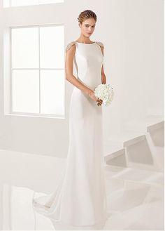 7ecc8579c Buy discount Attractive Chiffon  amp  Satin Bateau Neckline Sheath Wedding  Dresses With Embroidery  amp