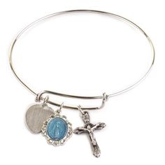 Miraculous Medal Bangle Bracelet with Engravable Heart. Perfect for stacking with other bracelets and a great reminder of Christian faith.