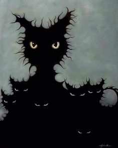 Latest piece by @angelinawrona title The Coven. Huge fan of this local artist. #art #lowbrow #lowbrowart #cat #blackcat #blackcats #coven #halloween #prints #angelinawrona #anarchygallery #chaoticutopian