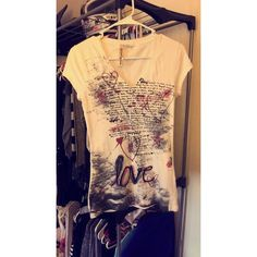Tee shirt White v neck with black writing and red hearts/ designs Eyeshadow Tops Tees - Short Sleeve