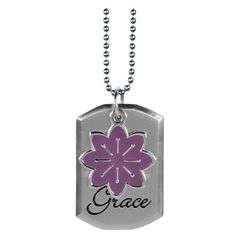 Dog Tag with Purple Flower Charm - Eph 2:8