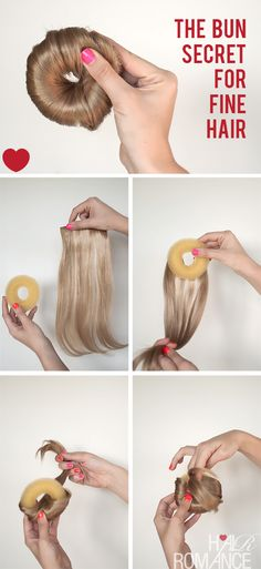 to make the perfect hair donut for fine hair How to make the perfect hair donut for fine hair. or short hair!How to make the perfect hair donut for fine hair. or short hair! Donut Bun Hairstyles, Dance Hairstyles, Diy Hairstyles, Natural Hair Styles, Short Hair Styles, Hair Donut Styles, Hair Romance, Gorgeous Hair, Hair Hacks