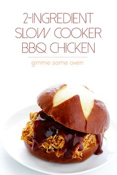 This 2-Ingredient Slow Cooker BBQ Chicken is ridiculously easy to make, yet full of the most delicious flavor. It is also naturally gluten-free.