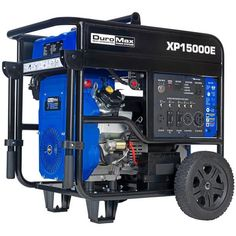 DuroMax 5000-Watt V-Twin Gas Electric Start Portable Generator - Overstock - 21544165 Electric Start Generator, Dual Fuel Generator, Gas Powered Generator, Portable Generator, Power Generator, Easy Keys, Fuel Gas, Gas And Electric, Roll Cage