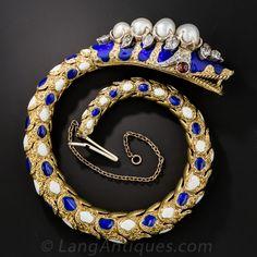 Victorian Enamel, Diamond and Natural Pearl Snake Bracelet