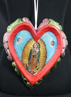Hand Carved & Painted Red Heart & Virgin of Guadalupe Patzcuaro Mexican Folk Art