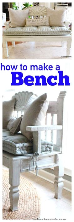 How to create a bench, using a headboard and end table.